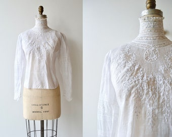 Elsie Villa blouse | 1910s white blouse | Edwardian cotton shirtwaist