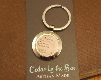 Map Key Chain, Keep a Memory Alive, Personalized and Custom