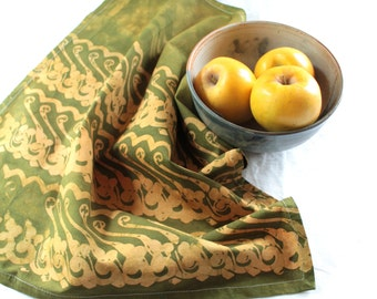 yellow and green batik tea towel