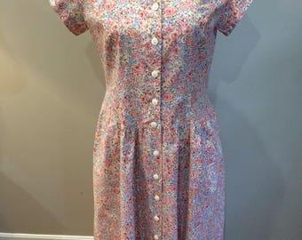 Vintage 1980's Carol Anderson pastel cotton dress size 6 excellent comdition!