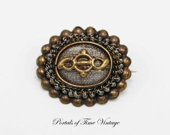 Antique Georgian Victorian Silesian Wirework Mourning Brooch with Vacant Compartment 19th Century