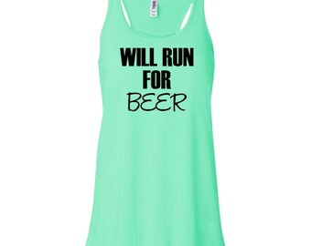Will Run For Beer Flowy Tank Top. Running Tank Top. Fitness Tank. Workout Tank Top. Funny Gym Tank Top. Womens Tank B809