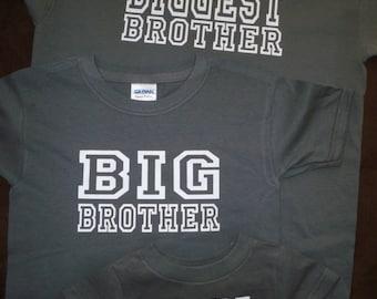 Big Brother shirt Baby Big Bigger Biggest Brother Sister Sibling Shirts Set Of 4 Big Brother Announcement Shirt big brother gift for brother