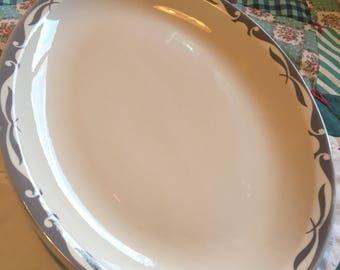 Vintage Large Gray Scroll Platter Restaurant Ware Jackson China Made in The USA