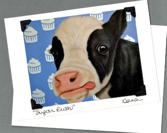 Cow Card - Birthday Card - Cow Birthday Card  -  Cow with Cupcakes - Proceeds Benefit Animal Charity