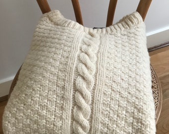 100% Pure Wool Jumper - fishermans sweater/cable knit