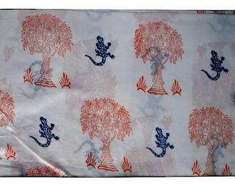1 to 50 Yards(Print_154,155)Indian Block Printed 100% Cotton Lizard/Tree Printed Fabric