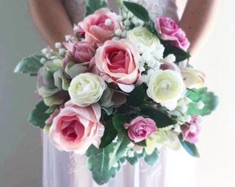 Handmade Pink Roses Wedding bouquet