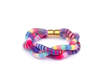 Colorful Braided Rope Bracelet, Big Textile Statement Bracelet, Fabric Cotton Bracelet, Unique Gift For Her, Girlfriend Gift, Gift For Wife