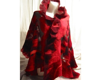 Red and black Nuno  Felt Wrap shawl-handmade, OOAK