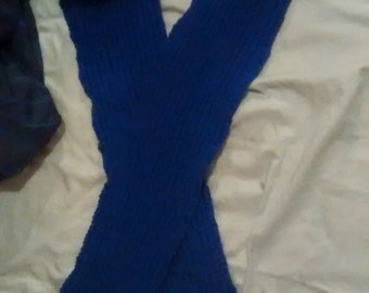 Blue reversible twisted scarf