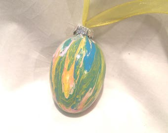Acrylic Fluid Pour Hand Painted Glass Easter Egg Ornament Pink Blue Yellow, Ribbon Top