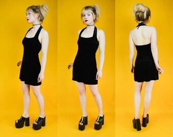 90s Black Velvet Halter Neck Mini Dress S
