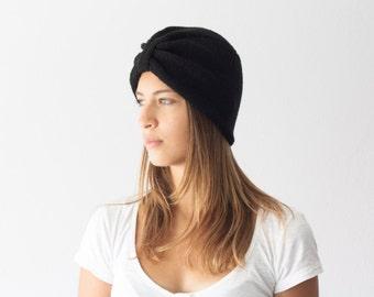 Sales Black hand knit turban hat handknitted women's hat winter hat knit cap