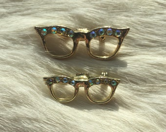 Vintage Cat-Eye Glasses Pins • Vintage Brooch Pair