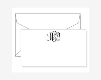 Personalized Gift Enclosure Cards with Mini-Envelopes - Interlocking Monogram