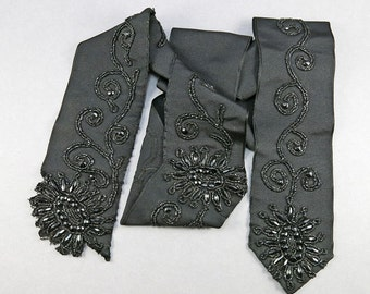 Victorian Antique Textile Beaded Trim Black Glass Beads Sewing Notions Craft Supplies Antiques Collectibles