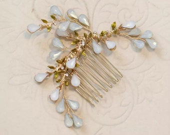 Vintage gold & opal crystal bridal hair comb- Bridal hairpiece-Hair accessories