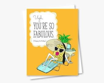 Pineapple Diva Birthday Card