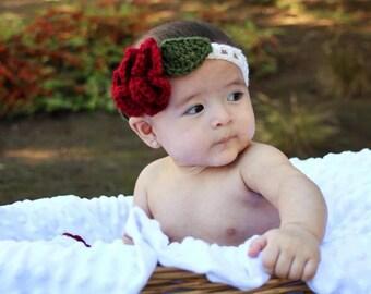 Dark red rose headband crochet great photo prop