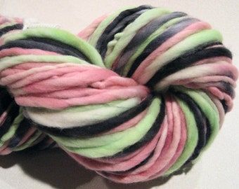 Super Bulky Handspun Yarn Sushi 96 yards hand dyed merino green pink black  waldorf doll hair knitting supplies crochet supplies