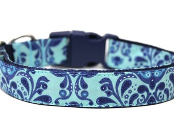 """Damask Dog Collar 1"""" Blue Dog Collar"""