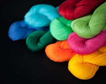 Linen thread - Set of 9 linen skeins - bright vivid thread colors, thread for crochet, knitting, weaving