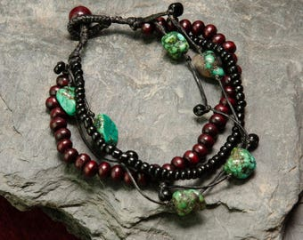 Jewelry for Bema Wooden Bead with Turquoise Stones Bracelet