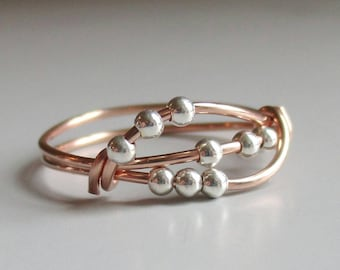 Uma Fidget Ring, Rose Gold Worry Bead Ring, Wire Wrapped  Handmade Ring, Stacking Ring, Gift for Her