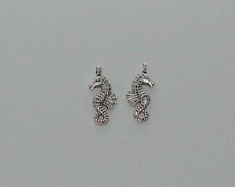 3 antique silver pendant: 10x24mm seahorse charms