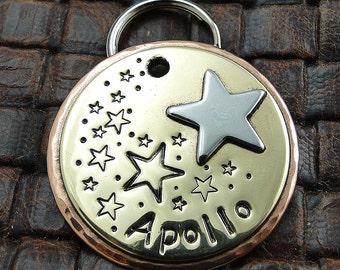 Custom Dog ID Tag Shooting Star, Personalized Dog Tag, Handmade Star ID PetTag