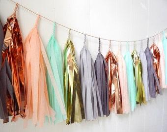Free Shipping -  Copper Mint Peach Gold Grey Tassel Garland - Wedding Decor - Nursery Decor - Dorm Decor - Photo Prop -  Garland