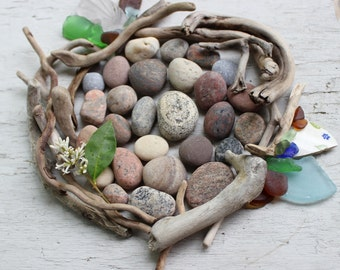 Beachcomber Instant Collection Natural Driftwood Seaglass and Rocks for Home Decor BC61