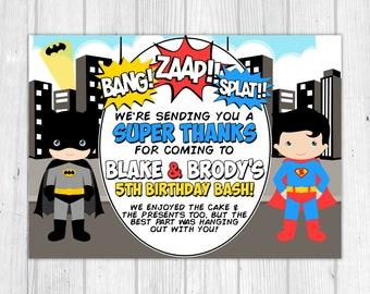 Batman and Superman 'Thank You' Card