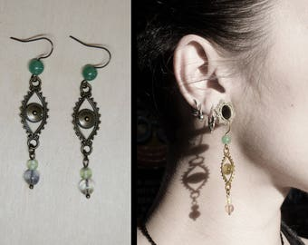 Evil eye earrings, natural stones, gypsy jewelry