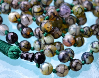 Dragon Vein Agate & Black Onyx Nirvana 108 Prayer Beads Hand Knotted Mala Beads Necklace - For Healing Stress Relief Spiritual Power Cou