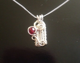 Wire Wrapped Jewelry Handmade, Mother's Day Gift, Unique Silver Pendant, Garnet Pendant, Flower pendant, Woven Wire Jewelry