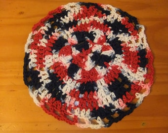 Dishcloth/Patriotic Dishcloth/Red, White and Blue Dishcloth/Crocheted Discloth/Handmade Dishcloth
