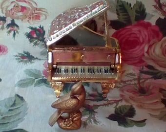 Piano Music Box Decorated with Enamel and Crystals