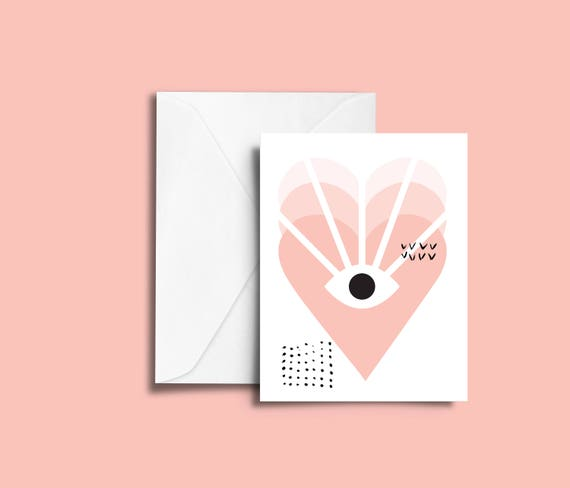 VALENTIN'S DAY Love vision // Valentine's day Card, Scandinavian Design, Pastel colors, abstract art