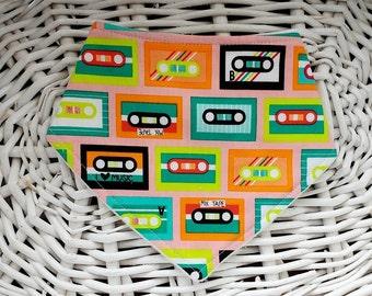 Music Baby Bandana Bib, Punky Bibdana, Cassette Drool Bib, Toddler Bib, Dribble Bib - Retro Music Lover, Mixed Tapes, Music Bib
