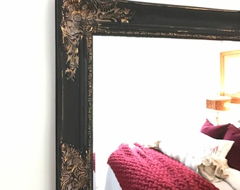 Black and Gold Ornate Mirror, Chic Farmhouse Mirror