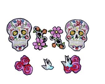 Punk-Baby - Schädel Patch - Tag der Toten - Zucker Schädel - Schwalbe - Tattoo - Mädchen-Shirt - Rose - DIY Eisen auf Stoff-Applikationen-Set von 7