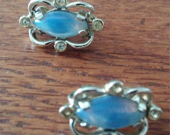 Opal and Cystal Clip Earrings