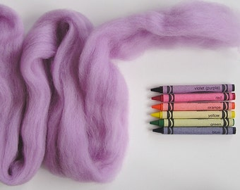 CORRIEDALE WOOL ROVING / Lightest Lilac 1 ounce / corriedale roving for needle felting, wet felting, spinning, infant photography braids