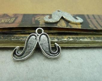 50 Moustache Charms Antique Silver Tone Adorable