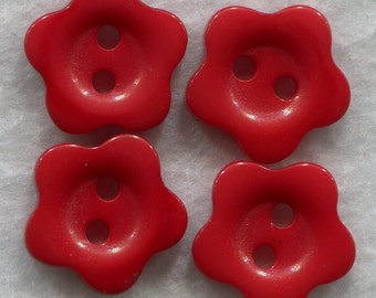 Dark Red  Buttons Red Acrylic Flower Buttons 15mm (5/8 inch) Set of 12/BT169