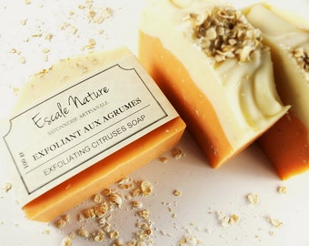 Exfoliating citruses, Artisanal soap, Olive soap and oat, Handmade and natural artisan soap for women and men