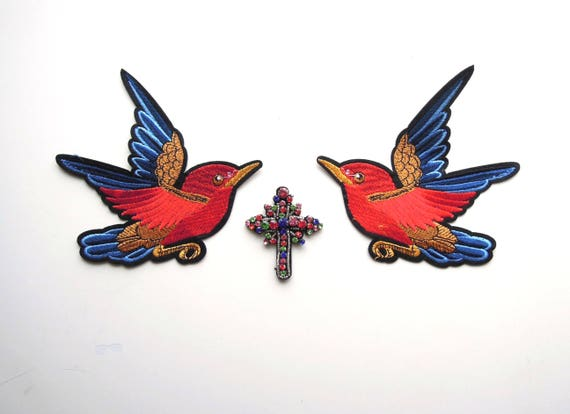 Tattoo style iron on patches, Custom denim jacket patch set, Birds & Beaded Cross Patch set, Embellish jackets, hats, bags with patches