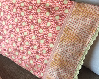 Pillowcase, Hand crochet, Salmon and pale yellow print with inside flap